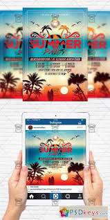 Summer Sunset Party Flyer Template Instagram Size Flyer
