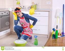 Kitchen Floor Cleaners Tired Woman Cleaning The Kitchen Floor Royalty Free Stock Image
