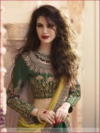 Full Sleeve Lehenga Blouse Design Dark Green Silk Designer Lehenga Choli With Embroidered Full