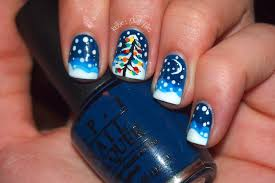 falling-snow-and-pine-tree-motif-nail-art-designs-blue-and-white ...