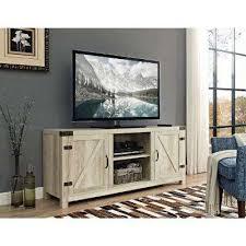 58 in barn door tv stand with side doors white oak