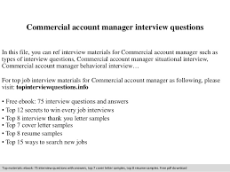 Commercial Account Manager Interview Questions