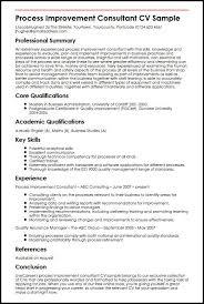 Consultant Cv Process Improvement Consultant Cv Sample Myperfectcv
