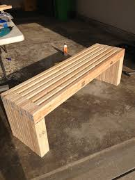 exterior: Simple Idea Of Long Diy Patio Bench Concept Made Of Wooden  Material In Natural