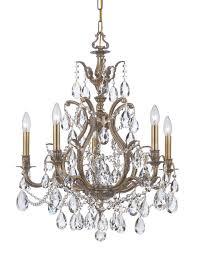 crystorama dawson 5 light clear crystal brass chandelier ii