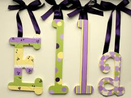 decorative hanging wood wall letters green lavender