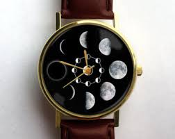 moon phase watch moon phases watch unisex watch ladies watch men s watch analog gift idea astronomy space gift for men