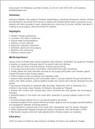 Occupational Therapy Resume 17 Templates Pediatric Therapist
