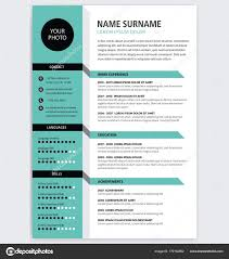Creative Cv Resume Template Green Color Minimalist Vector Stock