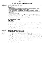 medical laboratory assistant resume medical lab assistant resume samples velvet jobs