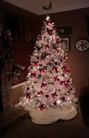Red Bow Decoration On White Christmas Tree