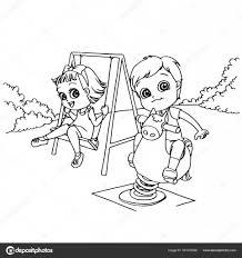 Bambini Presso Il Fumetto Di Parco Giochi Per Bambini Da Colorare