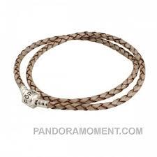 pandora double pearl leather bracelet clearance