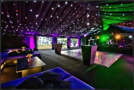 marquee with black starlight white dancefloor and lighting effects