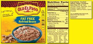old el paso fat free refried beans label
