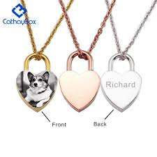 details about women personalized engrave heart lock pendant necklace custom photo jewelry