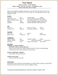 Sample Theater Resume Entrancing Fashionable Theatre Resume Example