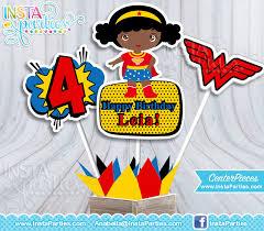 Personalized Superhero Birthday Invitations Wonder Woman Centerpieces Wonder Woman African American Centerpiece