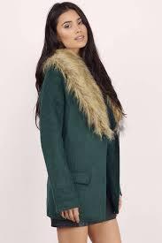 green wintertime fur collar coat tobi