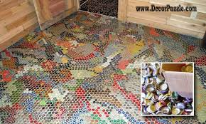 bottle cap flooring, unique and creative flooring ideas and flooring options