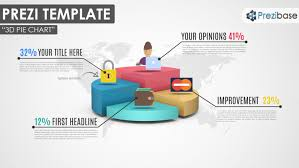 Charts In Prezi 3d Pie Chart Prezi Template With Quarters Infographic