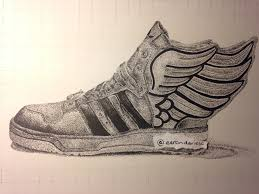 adidas shoes drawing. artfido | buy art online realistic drawing of adidas jeremy scott shoe 2737221547 shoes