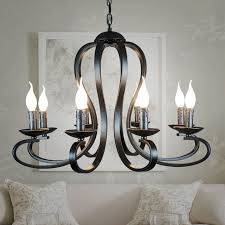 nordic american coutry style modern candle chandelier lighting fixtures vintage white black wrought iron home
