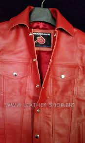 red leather vest jean jacket style mlv1331 collar closeup pic custom made leather vests available at leather biz