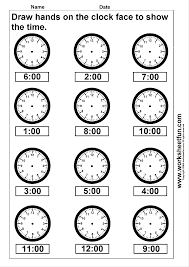 time draw hands on the clock face 4 worksheets free