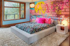 view in gallery bedroom offers a cool and eclectic look thanks to the graffiti wall photography shouldice on graffiti wall art bedroom with graffiti interiors home art murals and decor ideas
