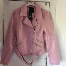 new look pink leather biker jacket
