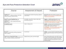 Eye And Face Protection Selection Chart Eye Protection Training Refresher Amec Earth Environmental