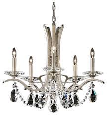 vesca 5 light chandelier antique silver spectra crystal