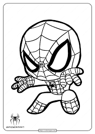 Spiderman crawls up a brick wall. Printable Cute Spiderman Coloring Page For Kids
