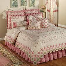 Coras Cathedral Garden Cotton Quilt Set Bedding | Cathedral window ... & The cotton Cora's Garden Quilt Set includes a bed quilt, bedskirt with  drop, and sham(s). Oversized quilt is ivory with a cathedral window  quilting. Adamdwight.com