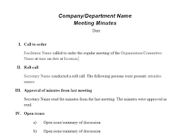 Writing Meeting Minutes Template Corporate Meeting Minutes