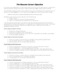 Resume Examples Objectives Mesmerizing Examples Of Career Objectives On Resumes Professional Objective In