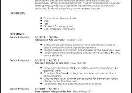 Dance Resume For Modern Dance Resume Templates Mentallyright Org