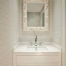 Powder Room Design Ideas gray powder room with seashell mirror