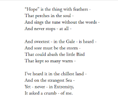 analysis of poem hope is the thing feathers by emily  hope is the thing feathers