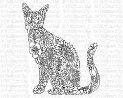 Small Picture Cat Coloring Page Digital Stamp Wildflower by ArtWildflowersDigi