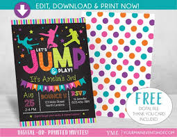 Birthday Invitations Free Download Stunning Jump Birthday Invitation Trampoline Party Invite Bounce House