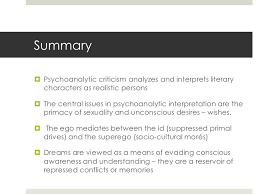 freud and psychoanalytic interpretation  submerged memories 19 summary psychoanalytic criticism analyzes and interprets
