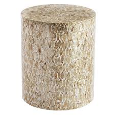 motherofpearl round drum accent table  pier  imports