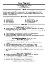 Restaurant General Manager Resume Resume Restaurant Manager Resume Online Builder 46