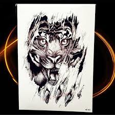 B Top Vodeodolné Dočasné Tetovanie Motiv Tygr čierna