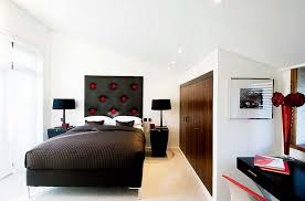 Exciting Contemporary Bedroom In Red, Black And White