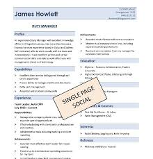 One Page Resume Template Classy One Page Resume Template Clean E Page Resume Template Pf E60