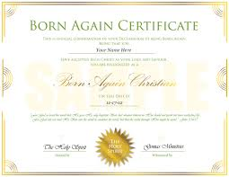 Gomas Ministries Born Again Certificate Sample