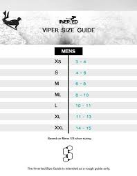 Viper Size Chart Ms Viper Fins Inverted Bodyboarding Your Bodyboard Shop